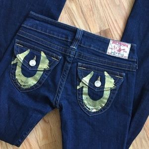 True Religion Joey Gold Painted Flare Jean 27